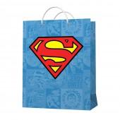 Пакет подарочный большой Superman (голубой с лого), 335*406*155 мм