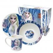 """Набор посуды в подарочной упаковке """"Frozen II"""" (Холодное сердце 2) Дизайн 1, 3 предмета, фарфор"""