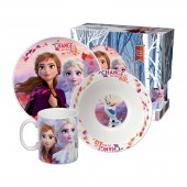 """Набор посуды в подарочной упаковке """"Frozen II"""" (Холодное сердце 2) Дизайн 2, 3 предмета, фарфор"""