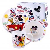"""Набор посуды в подарочной упаковке """"Микки Маус"""", Дорога, 3 предмета, фарфор"""