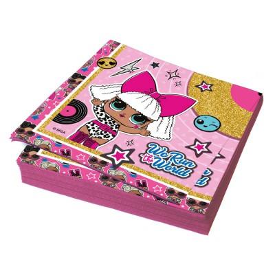 LOL. Салфетки бумажные трехслойные (розовые с паттерном) 33*33 см, 20 шт