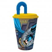 Стакан пластиковый с соломинкой и крышкой (спортивный, 430 мл). Бэтмен