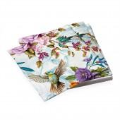 Салфетки бумажные трехслойные Птицы и цветы 33*33 см, 20 шт