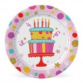 Набор бумажных тарелок Тортик, 6 шт d=180 мм