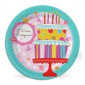 Набор бумажных тарелок Тортик, 6 шт d=230 мм