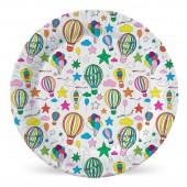 Набор бумажных тарелок Шарики с обводкой, 6 шт d=230 мм