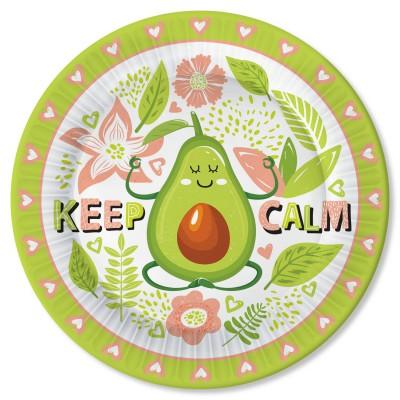 Набор бумажных тарелок Авокадо-1, 6 шт d=230 мм