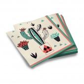 Салфетки бумажные трехслойные Кактус-2 33*33 см, 20 шт