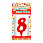 """Парафиновая свеча в торт """"Тортик"""" (цифра 8) для девочек, в блистере"""