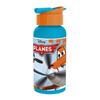 Бутылка алюминиевая с соломинкой (400 мл). Самолеты