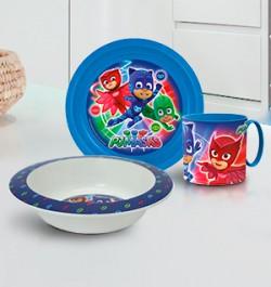 Детская пластиковая посуда с персонажами мультфильма «Герои в масках»