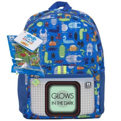 Pixie Crew рюкзак школьный с боковыми карманами (Жуки, синий)