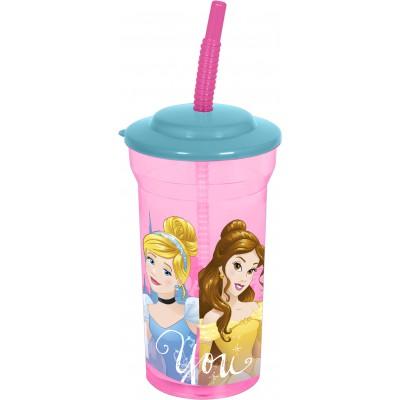 Стакан пластиковый с соломинкой и крышкой (прозрачный, 460 мл). Принцессы Дружные приключения