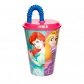 Стакан пластиковый с соломинкой и крышкой (спортивный, 430 мл). Принцессы Дружные приключения