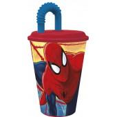 Стакан пластиковый с соломинкой и крышкой (спортивный, 430 мл). Человек-паук Красная паутина