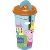 Стакан пластиковый с соломинкой и крышкой (прозрачный, 400 мл). Свинка Пеппа