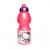 Бутылка пластиковая (спортивная, фигурная, 400 мл). Hello Kitty Сердечки