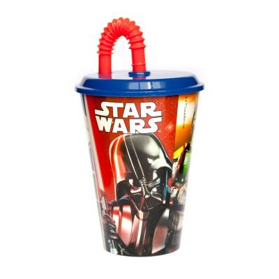 Стакан пластиковый с соломинкой и крышкой (спортивный, 430 мл). Звёздные войны Классика
