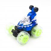 Радиоуправляемая синяя машинка перевертыш со звуком, световой диско-шар - RD970-5-B