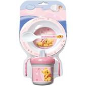 Набор для СВЧ: миска + ложка + кружка (розовый). Винни-пух