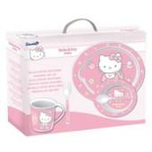 Набор для СВЧ: тарелка + миска + кружка + приборы. Hello Kitty