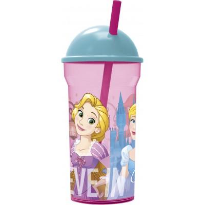 Стакан пластиковый с соломинкой и крышкой-полусферой (прозрачный, 460 мл). Принцессы Дружные приключения