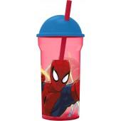 Стакан пластиковый с соломинкой и крышкой-полусферой (прозрачный, 460 мл). Человек-паук Красная паутина