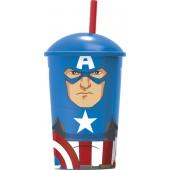 Стакан пластиковый с соломинкой и крышкой (400 мл). Мстители Капитан Америка