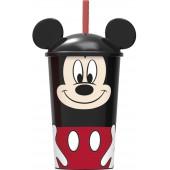 Стакан пластиковый с соломинкой и крышкой (400 мл). Микки Маус