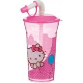 Стакан с крышкой и соломинкой (350 мл). Hello Kitty