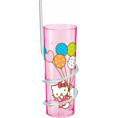 Стакан с витой соломинкой (325 мл). Hello Kitty