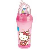 Стакан с крышкой и соломинкой (300 мл). Hello Kitty