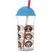 Стакан пластиковый с соломинкой и крышкой-полусферой (прозрачный, 460 мл). Эмодзи 12 обезьян