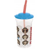 Стакан пластиковый с соломинкой и крышкой (прозрачный, 460 мл). Эмодзи 12 обезьян